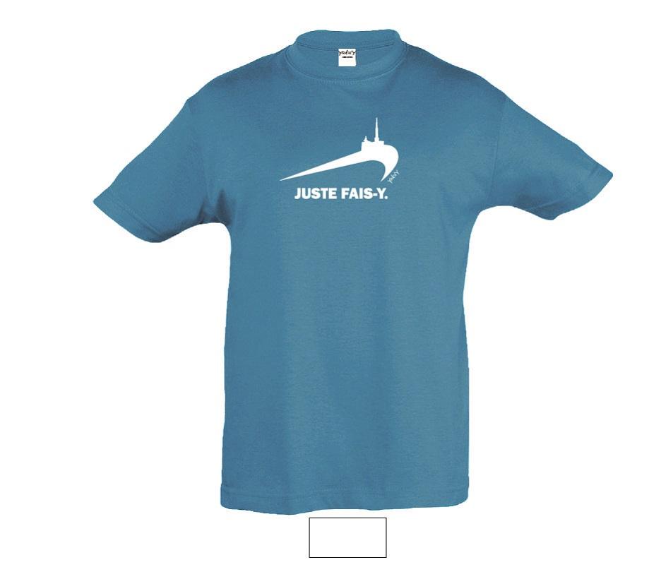 T-shirt bleu juste fais y