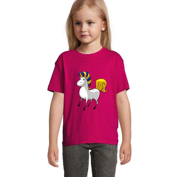 T-shirt fuschia licorne