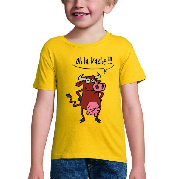 t-shirt jaune oh la vache