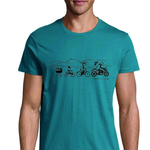 t shirt bleu canard moto