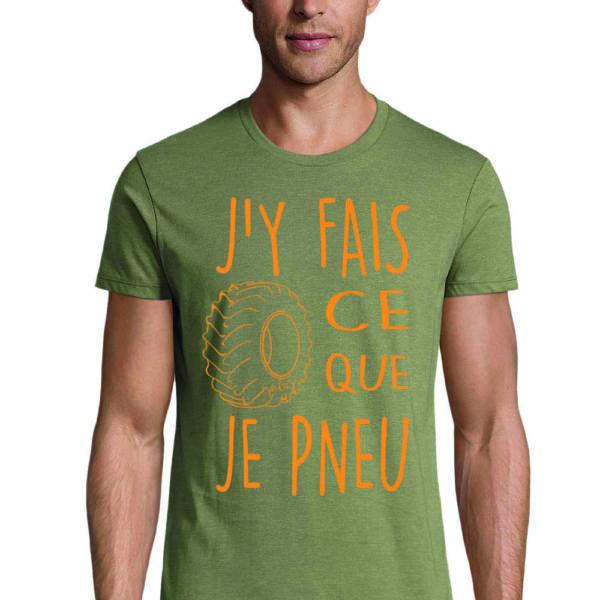 t-shirt kaki chine pneu